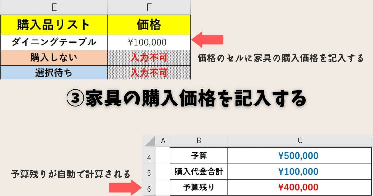 買い物リストの使い方③家具の購入価格を記入する